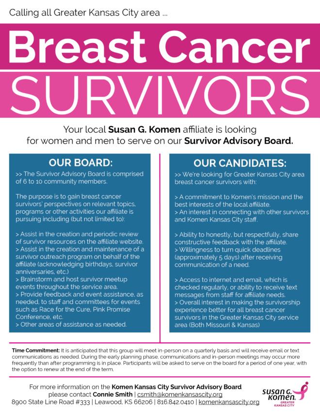 2016 Komen KC Survivor Advisory Board Flyer